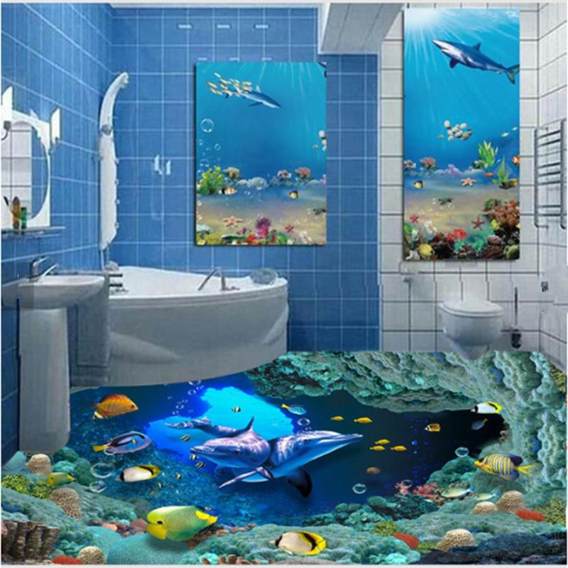 72 Cute Dolphins And Fishes Under The Sea Pattern Healthy Splicing  Waterproof 3D Floor Murals