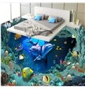 Cute Dolphins and Fishes under the Sea Pattern Healthy Splicing Waterproof 3D Floor Murals
