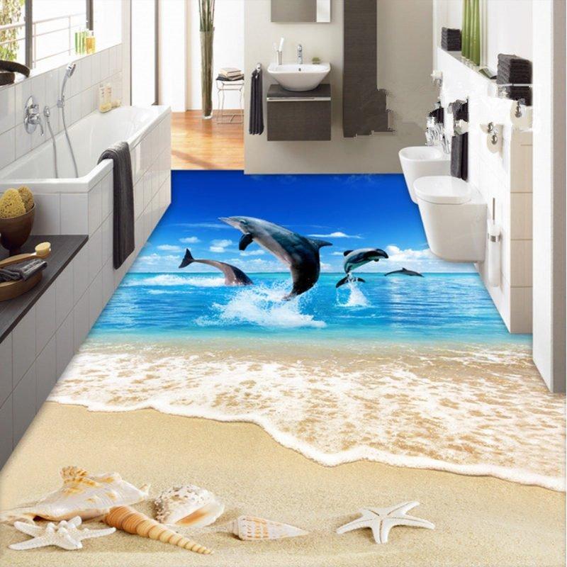 Custom 3d Floor Wallpaper Flowers Road Bathroom Kitchen: Comtemporary Design Jumping Dolphins Sea Scenery Pattern