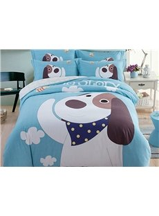 Cute Puppy Pattern Kids Cotton 4-Piece Duvet Cover Sets