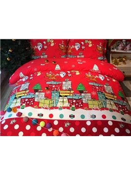 Christmas Style Colorful Buildings Pattern 4-Piece Duvet Cover Sets