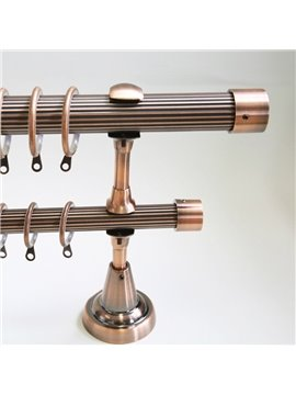 Classical Pink Golden Color End Cap Double Window Treatment Rod Set