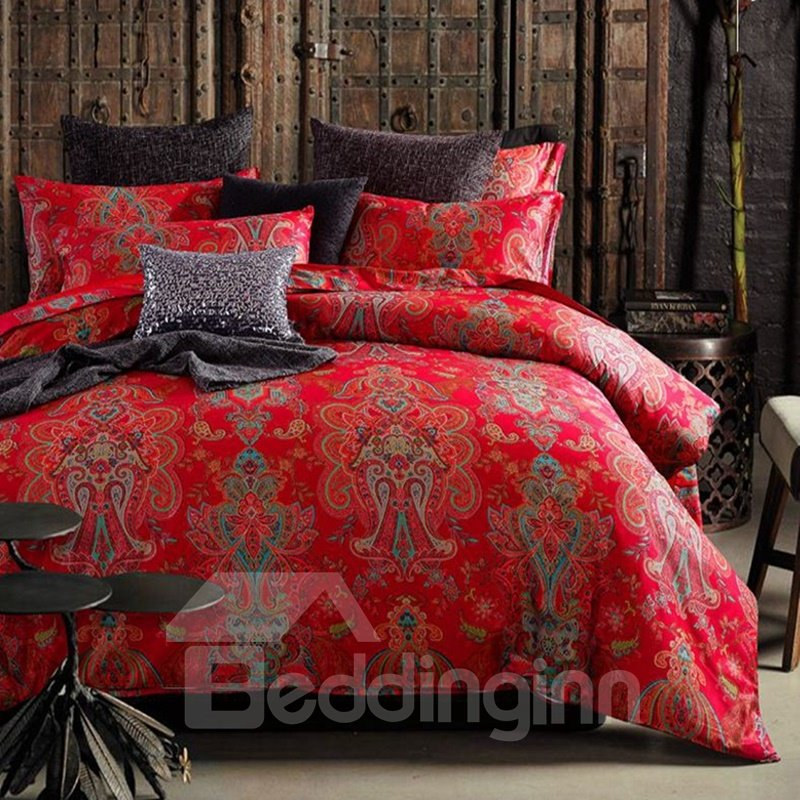 Exotic Style Festive Red Damask Print 4