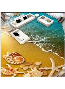 Realistic Seashell and Starfish by the Sea Scenery Waterproof 3D Floor Murals