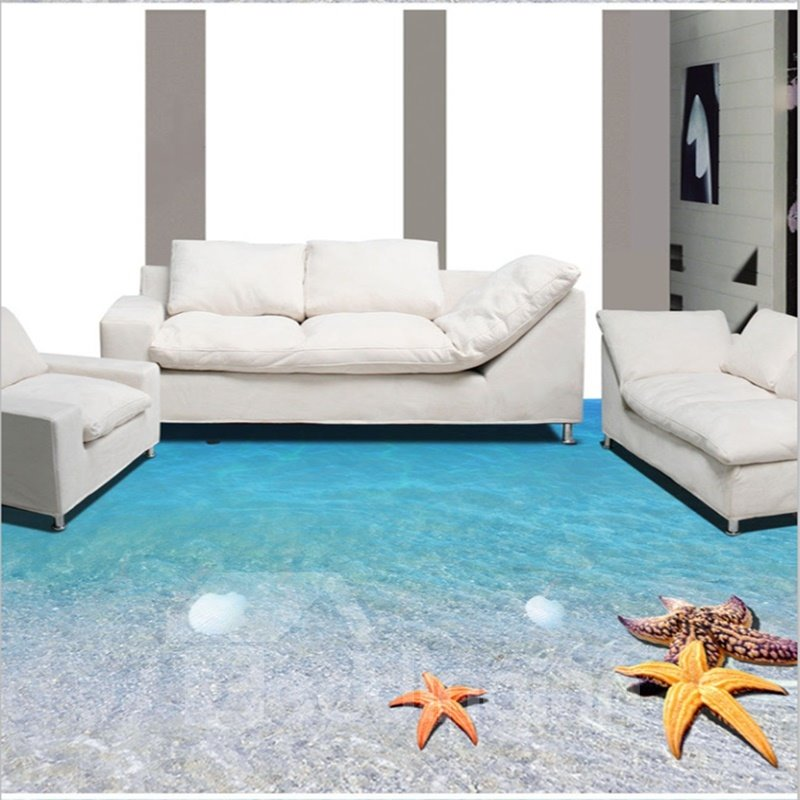 45 Limpid Blue Sea Scenery Home Decorative Waterproof Wallpaper 3D Floor Murals
