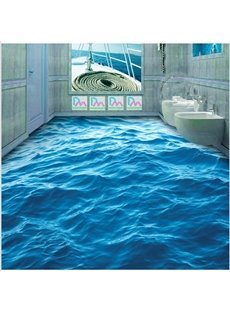 Blue Vivid Sea Wave Pattern Home Decorative Splicing Waterproof 3D Floor Murals