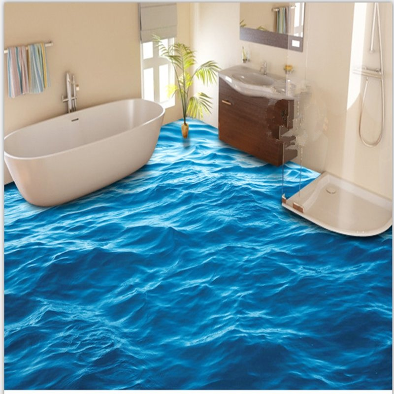 3d blue sea wave pattern pvc non slip waterproof eco friendly self adhesive f - Parquet pvc autocollant ...