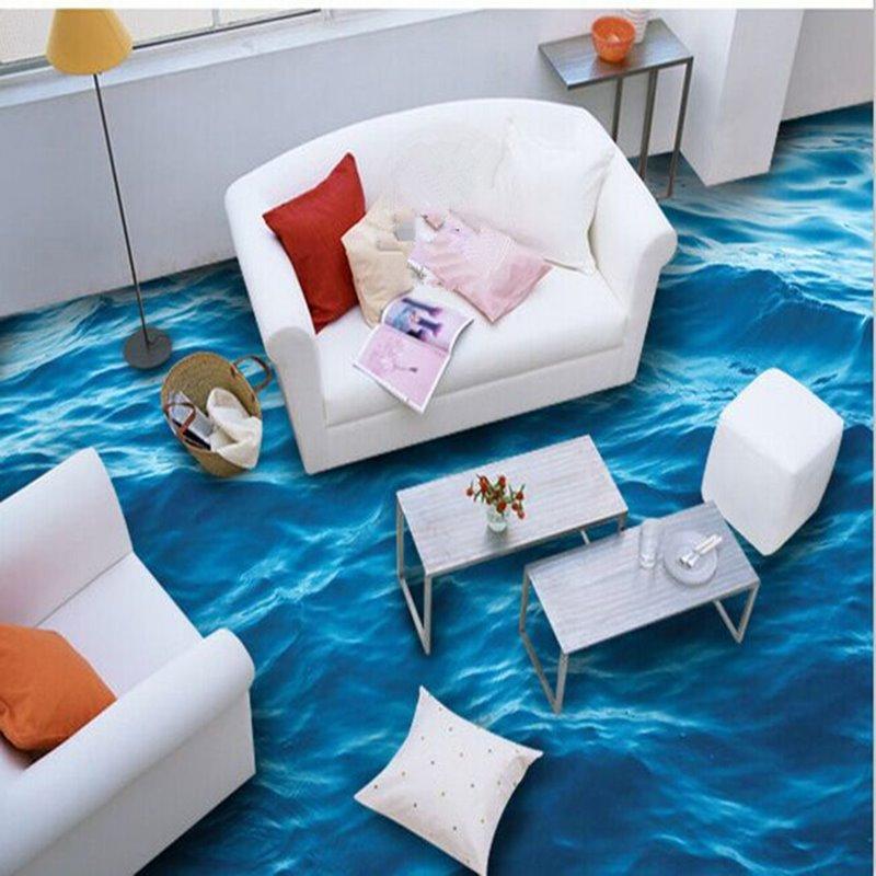 Sea Wave Pattern Splicing 3D Waterproof Floor Murals