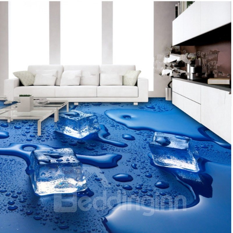 Blue Decorative Melting Ice Cube Pattern Antiskid And
