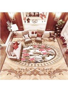 Elegant Pink Flower and White Pebbles Pattern Home Decorative Waterproof 3D Floor Murals