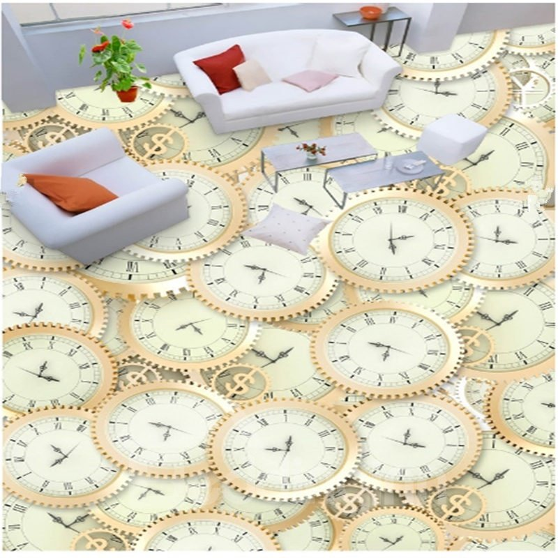 Amusing Design Gear Watches Pattern Home Decorative Splicing Waterproof 3D Floor Murals