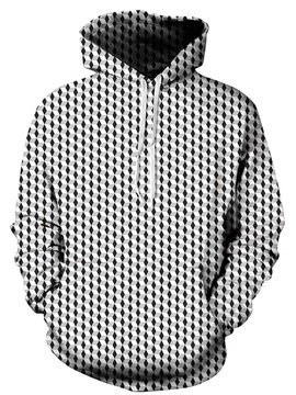 Cool Long Sleeve Abtract Cube Pattern Pocket 3D Painted Hoodie