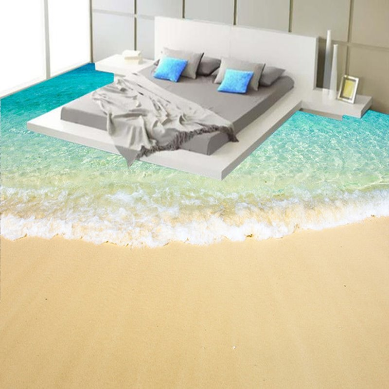 Beach Scenery 3D Fabric Waterproof Floor Murals beddinginncom