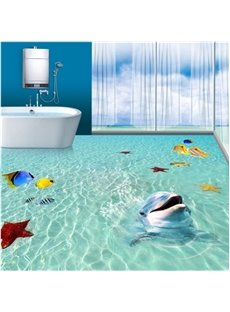 Super Cute Dolphin Playing in the Sea Pattern Bathroom Decoration Waterproof 3D Floor Murals