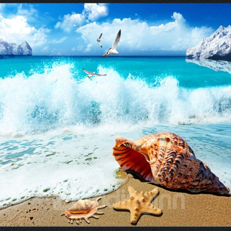 Fantastic Sea Wave Beach Scenery Pattern Waterproof