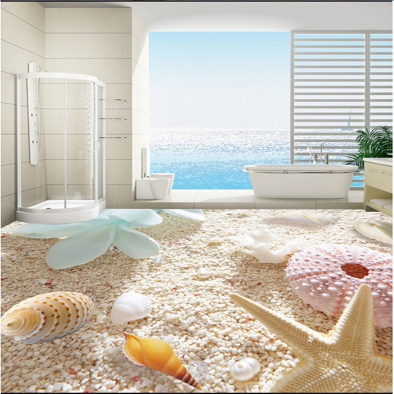 Fresh Decorative Seashells and Starfishes Pattern on the Beach 3D Floor Murals