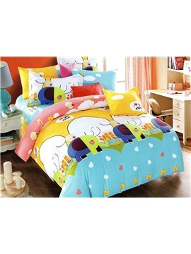 Pretty Elephant Print 3-Piece Cotton Duvet Cover Sets