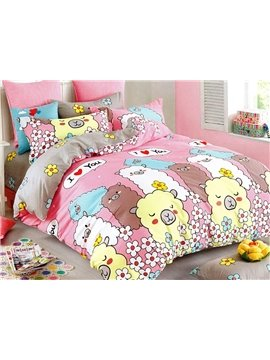 Colorful Sheeps Print 3-Piece Cotton Duvet Cover Sets