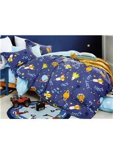 Cartoon Rocket and Satellite Pattern 3-Piece Cotton Duvet Cover Sets