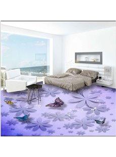 Purple Flowers and Butterflies Pattern Decorative Waterproof 3D Floor Murals