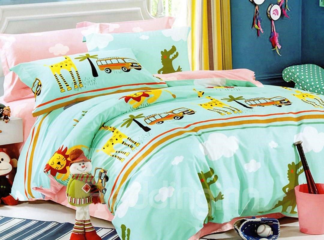 Bright Lion and Bus Print 3-Piece Cotton Duvet Cover Sets