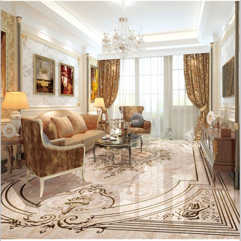 Aliexpress Com Buy European Style 3d Floor Tiles Mural: European Style Simple Flower Pattern Decorative Waterproof
