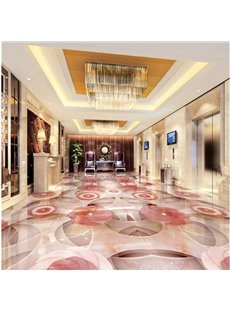 Modern Creative Design Pink Flowers Pattern Waterproof Splicing 3D Floor Murals