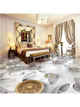 White Simple Style Flower Pattern Waterproof Home Decorative 3D Floor Murals