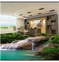 3D Green Stream in Mountain PVC Waterproof Non-slip Eco-friendly Self-Adhesive Floor Murals
