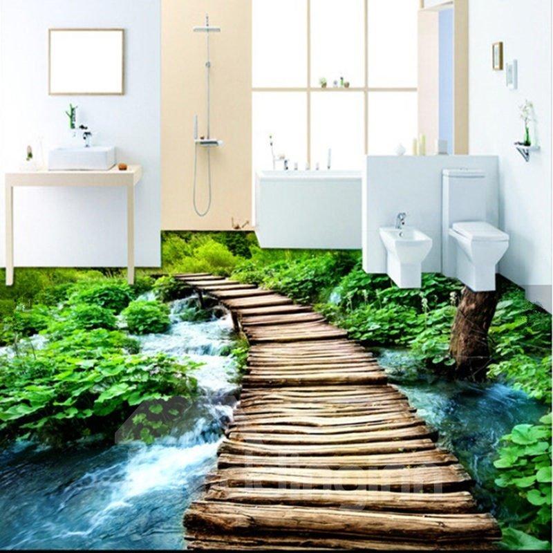 Unique Design Wooden Bridge Over The River Pattern