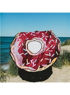 Creative Big Doughnut Pattern Round Beach Throw Mat