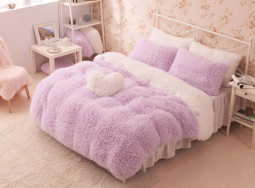 Pretty Soft Princess Style Purple Girls 4 Piece Bedding