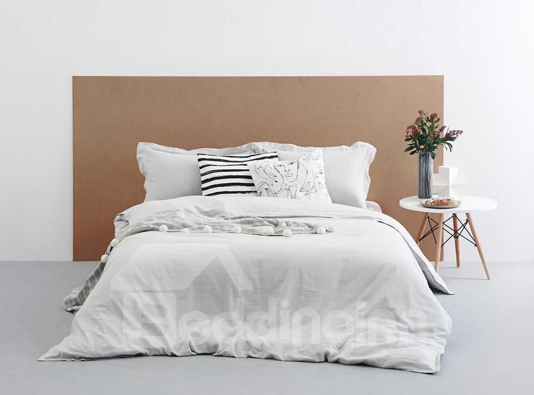 Vintage Style Light Gray Linen 4-Piece Duvet Cover Sets