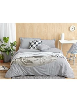 Durable Gray Stripe Print 4-Piece Cotton Duvet Cover Sets