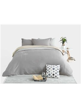 Elegant Dandelion Embroidery Gray Print 4-Piece Cotton Duvet Cover Sets