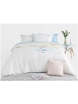 Likable Sea Gull Embroidery 4-Piece Cotton Duvet Cover Sets