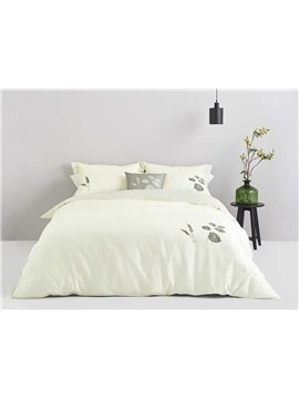 Luxury Fresh Leaves Print 4-Piece Cotton Duvet Cover Sets