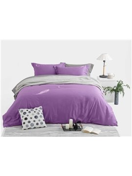 Exquisite Feather Embroidery Purple 4-Piece Cotton Duvet Cover Sets