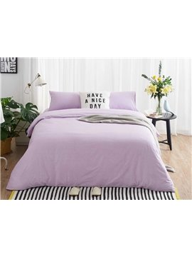 Luxury Purple Soft Brushed Cotton 4-Piece Duvet Cover Sets