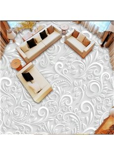 White Elegant Flower Pattern Home Decorative Waterproof Custom Size Splicing 3D Floor Murals