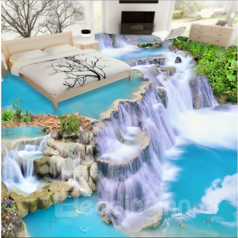 Custom 3d Floor Wallpaper Flowers Road Bathroom Kitchen: 3D Waterfall Pattern PVC Waterproof Non-slip Self-Adhesive