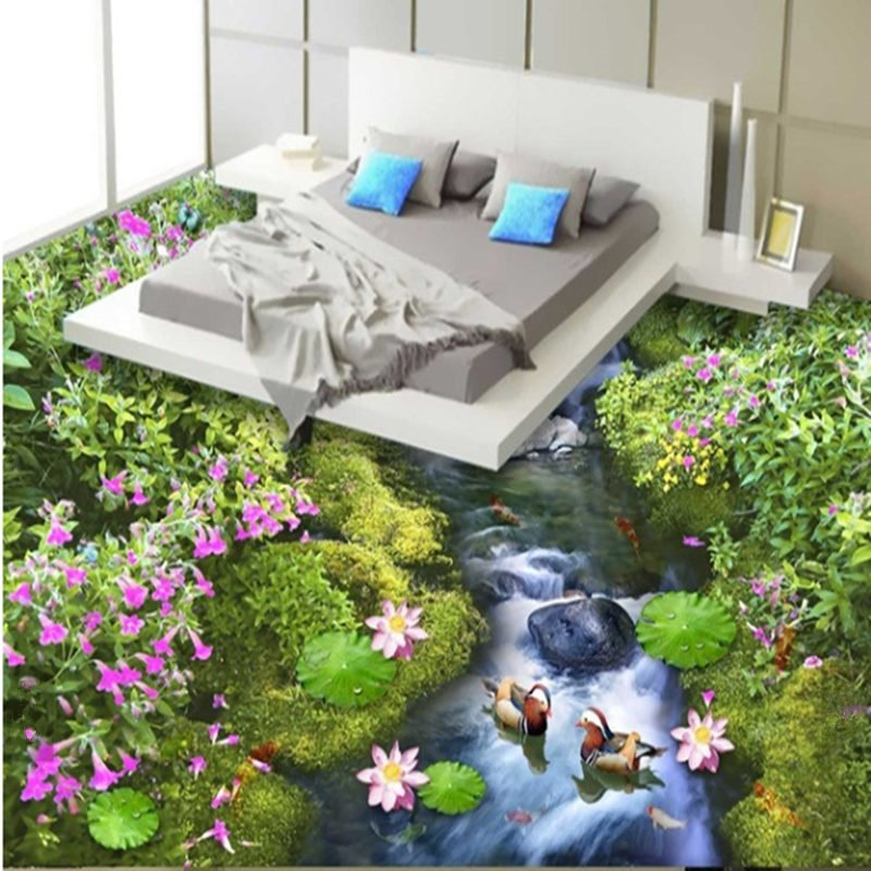 Natural Beautiful Stream and Flower Pattern Waterproof and Antiskid Splicing 3D Floor Murals