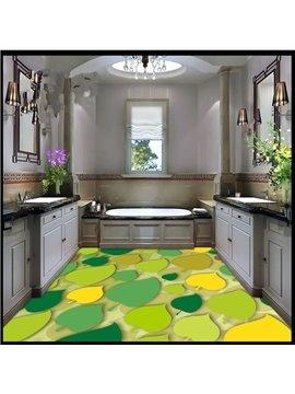 Modern Fashion Design Colorful Leaves Pattern Waterproof 3D Floor Murals