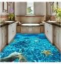 Blue Sea Containing Shell Conch and Starfish Nonslip and Waterproof 3D Floor Murals