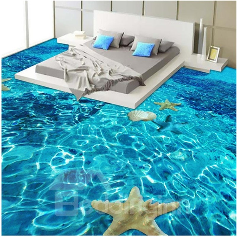Realistic Limpid Seawater Pattern Nonslip and Waterproof 3D Floor Murals