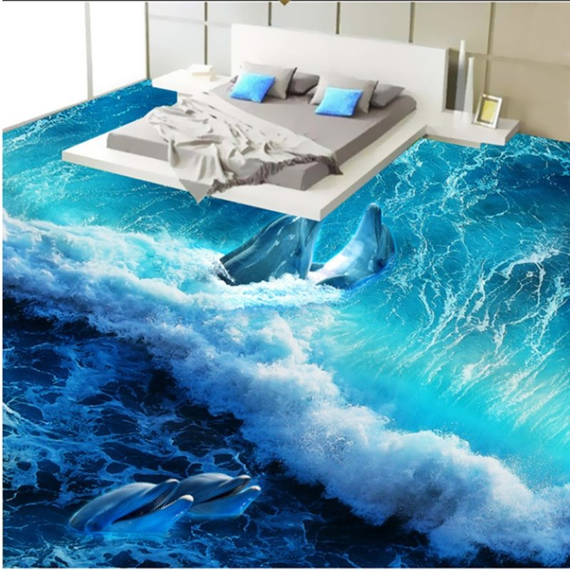Wonderful design happy dolphins playing in the sea wave for Bathroom floor mural sky