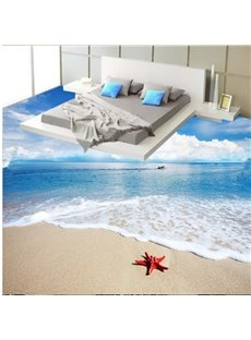 Stunning Boundless Sea and White Cloud Pattern Waterproof Splicing 3D Floor Murals