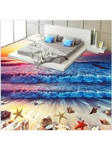 Splendid Sunset Sea Wave and Beach Scenery Pattern Wallpaper Waterproof 3D Floor Murals