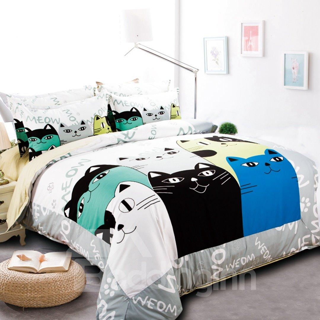 Special Cartoon Cats Pattern Kids 4 Piece Duvet Cover Set