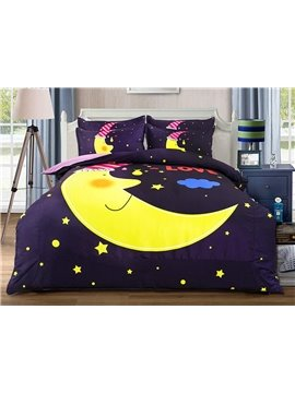 Creative Moon and Stars Pattern Kids 4-Piece Duvet Cover Set